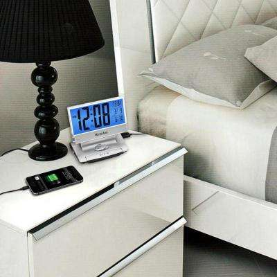 Electric Powered LCD Alarm Clock With USB Charging Port
