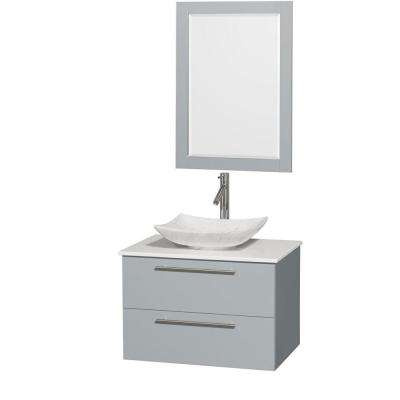 Amare 30 in. W x 20.5 in. D Vanity in Dove Gray with Solid-Surface Vanity Top in White with White Basin and Mirror