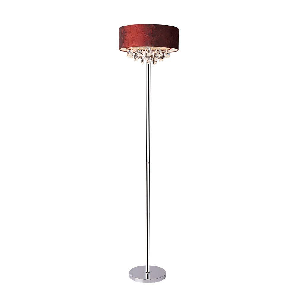 Romazzino Crystal Collection 61.5 in. Chrome Floor Lamp with Red Ruched