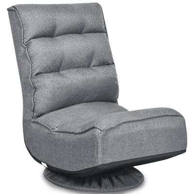 23 in. Gray Solid Fabric 1-Seat Folding Lazy Sofa with Reclining