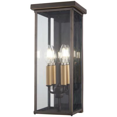 Casway 4-Light Oil Rubbed Bronze with Gold Highlights Outdoor Wall Lantern Sconce