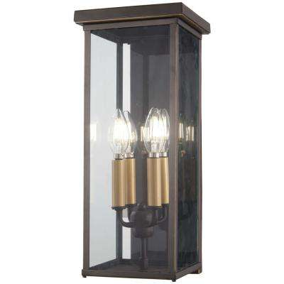 Casway 5-Light Oil Rubbed Bronze with Gold Highlights Outdoor Wall Lantern Sconce