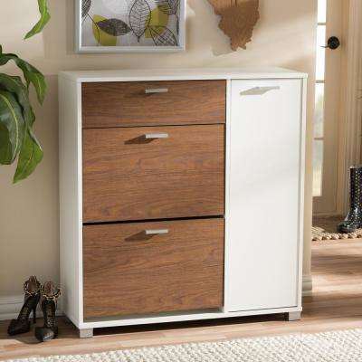 Chateau Medium Brown and White Wood Finished Shoe Cabinet