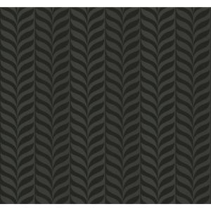 Feather Stripe Charcoal Glitter And Black Geometric Wallpaper