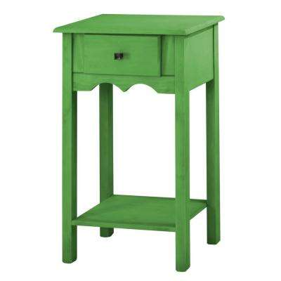 Jay 35.43 in. Tall Green Wash End Table with 1-Full Extension Drawer