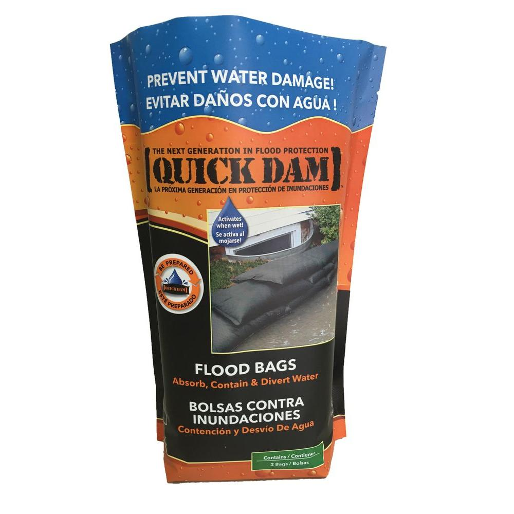 Quick Dam Flood Bags For Flooding And Excess Water 2 Pack