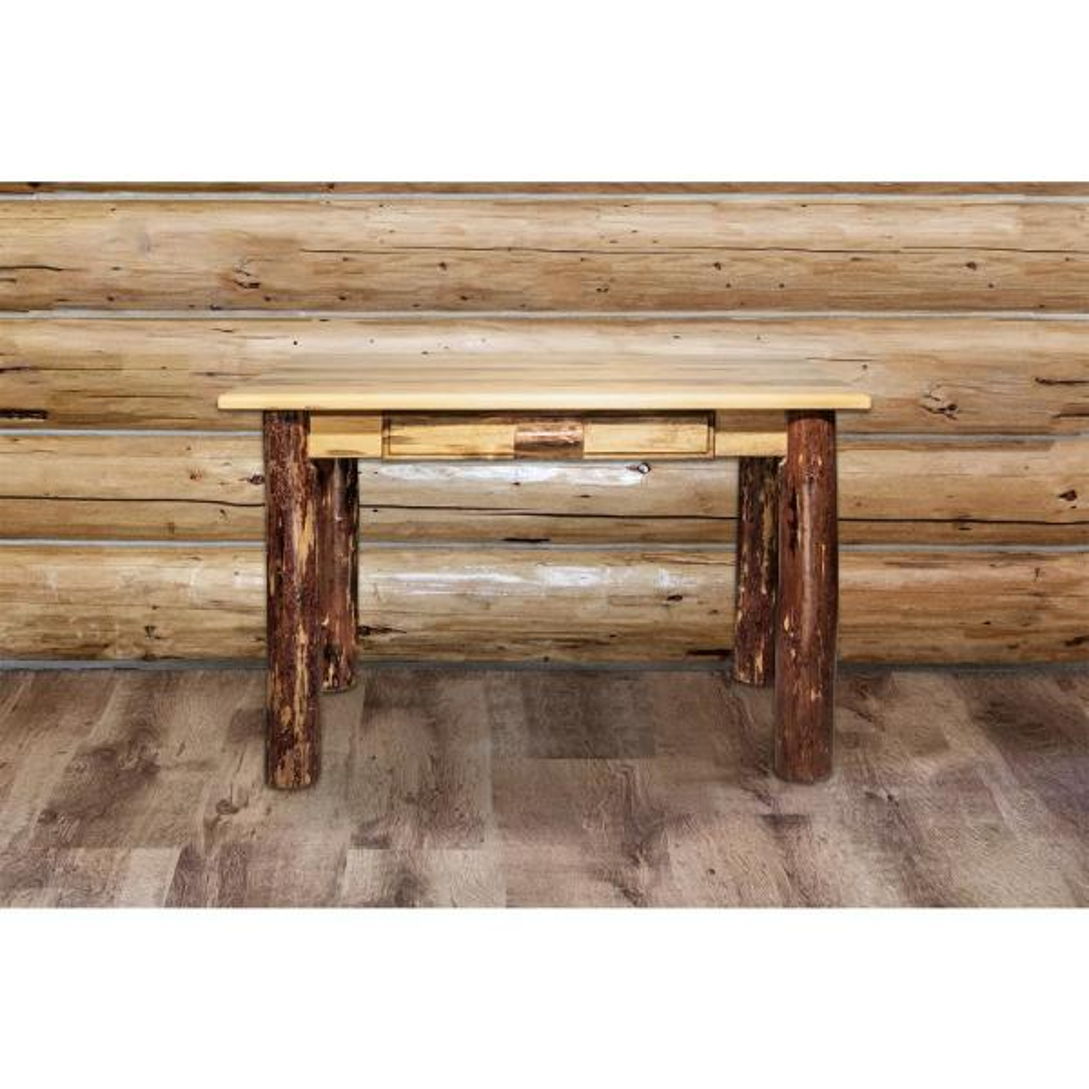 48 in. Rectangular Puritan Pine 1 Drawer Writing Desk with Built-In Storage