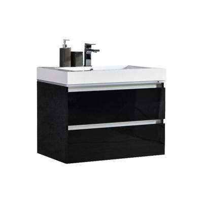 Maui 24 in. W x 18.5 in D LED Illuminated Bathroom Vanity in Black with Acrylic Top in White with Integral White Basin