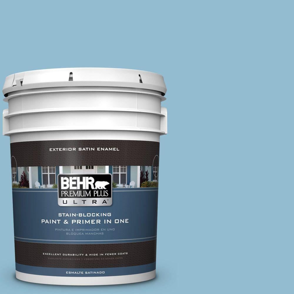 BEHR Premium Plus Ultra 5-gal. #S490-3 Reef Blue Satin Enamel Exterior Paint