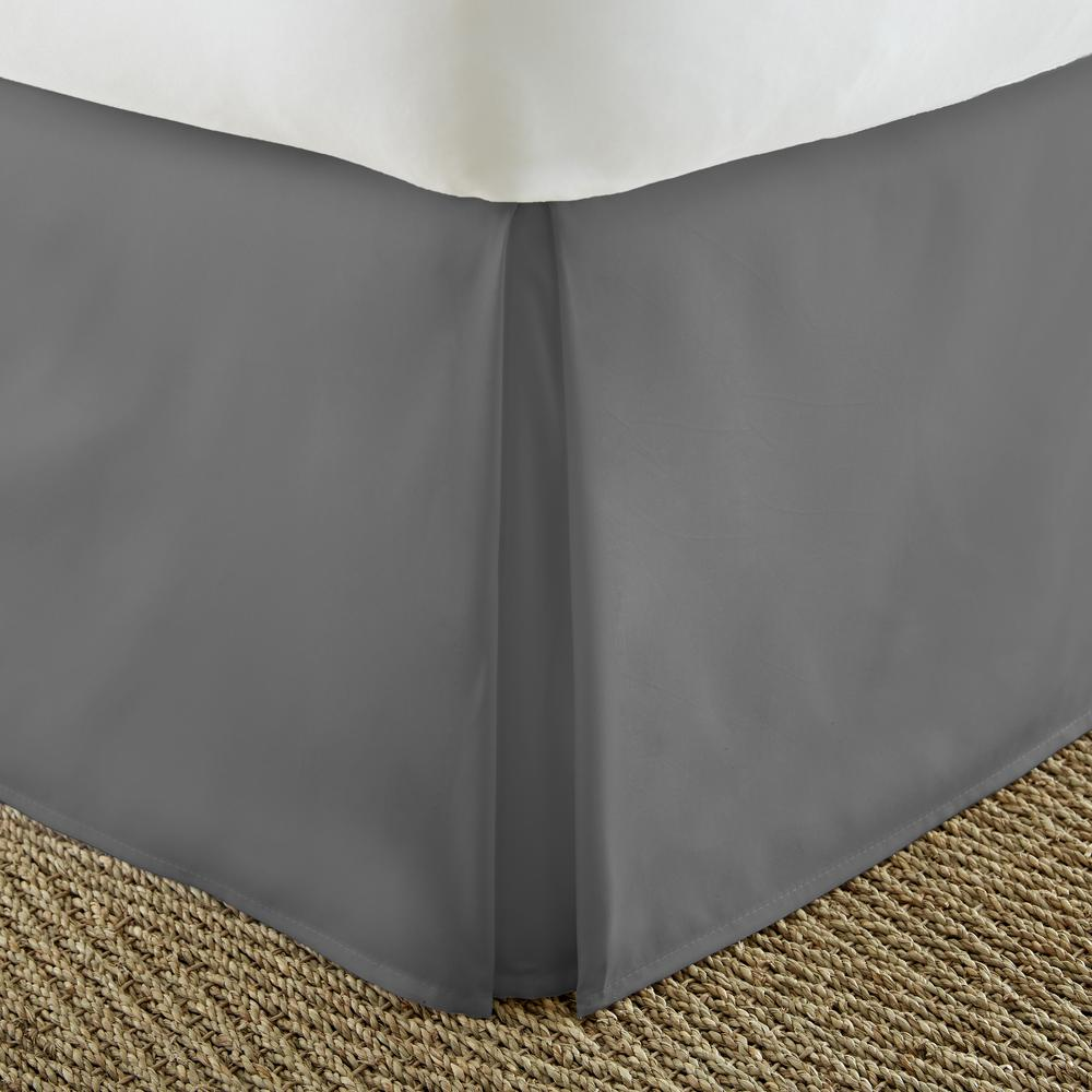 Pleated Dust Ruffle Gray Queen Performance Bed Skirt