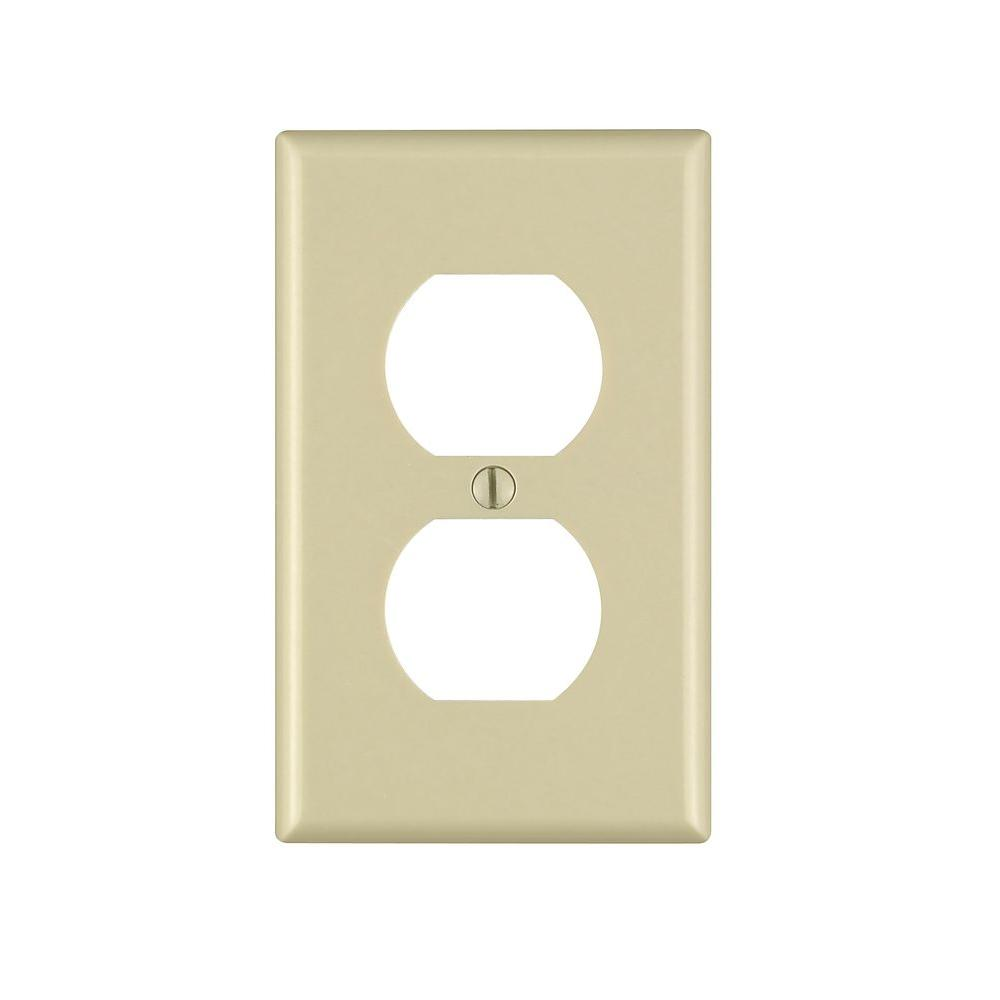 1-Gang Duplex Outlet Wall Plate, Ivory (Pack of 10)