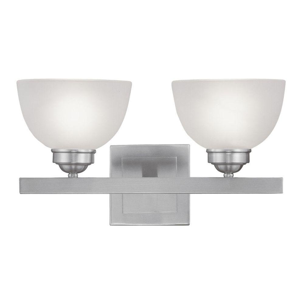 Livex Lighting Providence 2 Light Brushed Nickel Incandescent Bath Vanity Light 4202 91 The