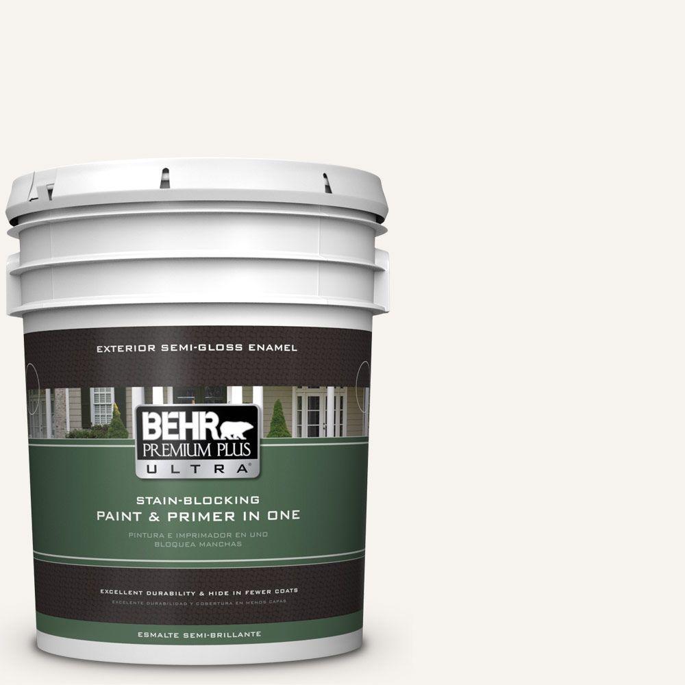 BEHR Premium Plus Ultra 5 gal. #75 Polar Bear Semi-Gloss Enamel Exterior Paint