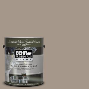 Behr Premium Plus Ultra 1 Gal Ul140 7 Studio Taupe Semi Gloss Enamel Interior Paint And Primer In One 375401 The Home Depot