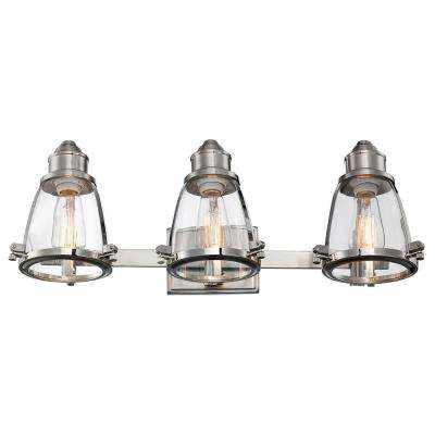 Boston 3-Light Brushed Nickel Bath Light with Clear Glass Shades
