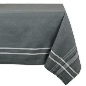 Chambray 60 in. x 120 in. Gray with White French Stripe Cotton Tablecloth