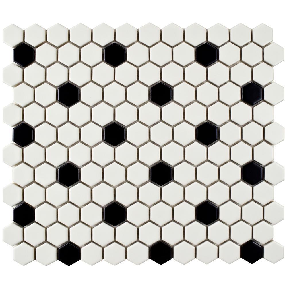 "Kitchen Backsplash//Bathroom White 1/"" Hexagon Glazed Porcelain Mosaic Tiles"