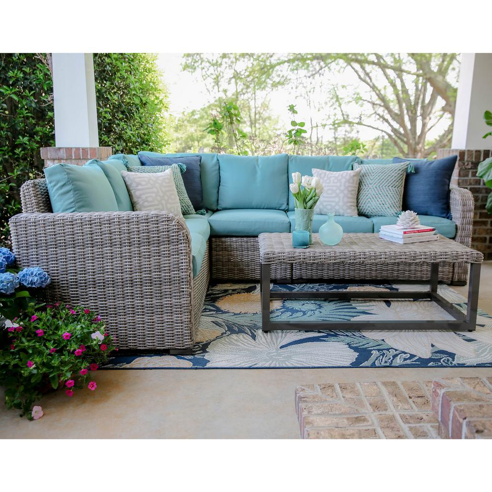 Forsyth 5 piece wicker outdoor sectional set with blue for Sofa outdoor