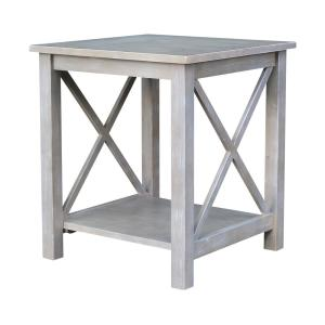Hampton Weathered Taupe Gray End Table
