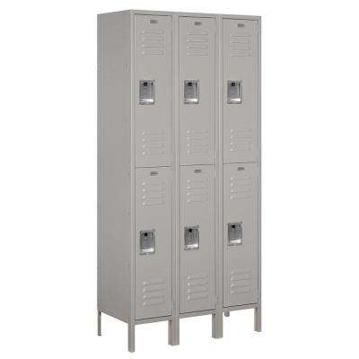 62000 Series 36 in. W x 78 in. H x 15 in. D 2-Tier Metal Locker Unassembled in Gray