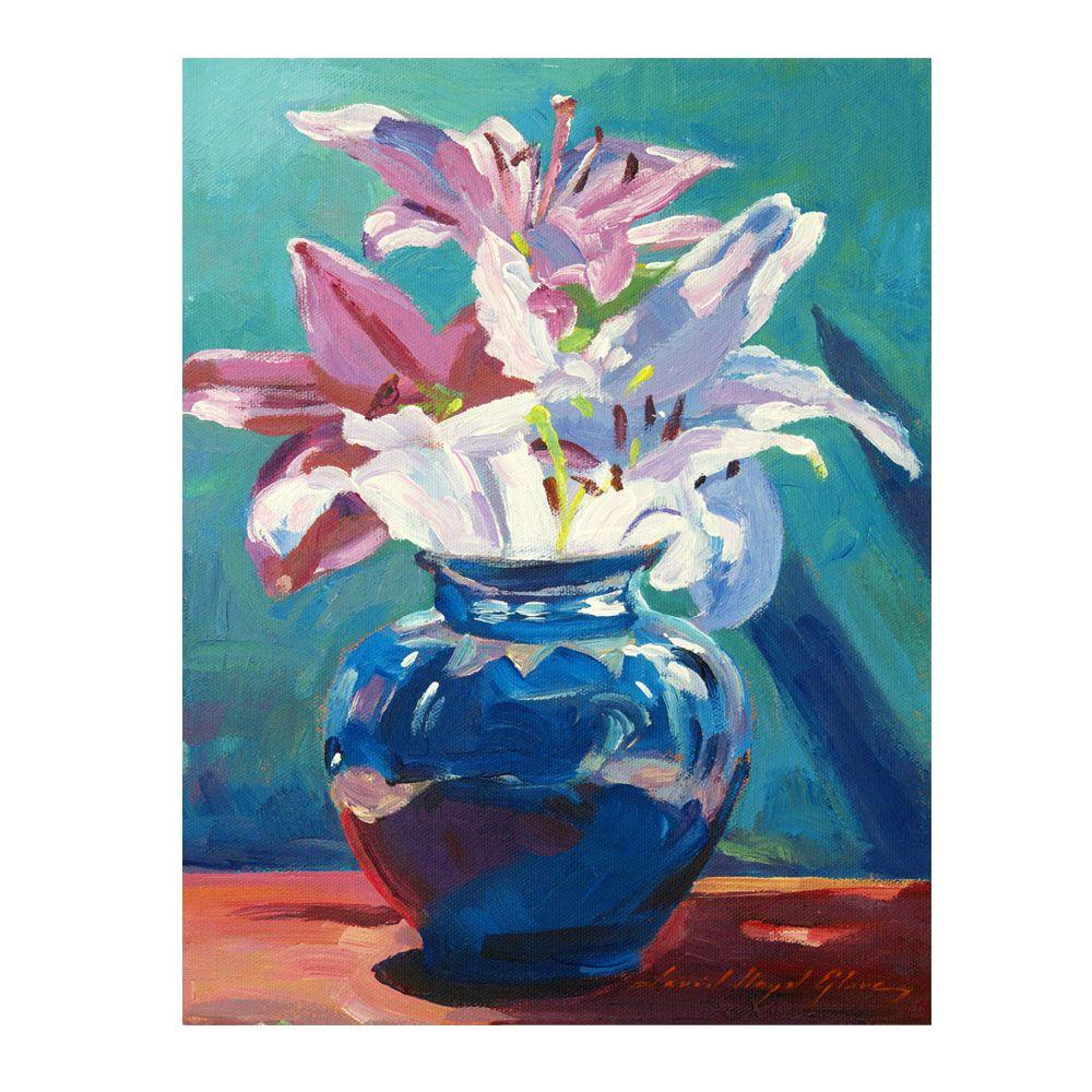 null 24 in. x 32 in. Lilies in Blue Canvas Art
