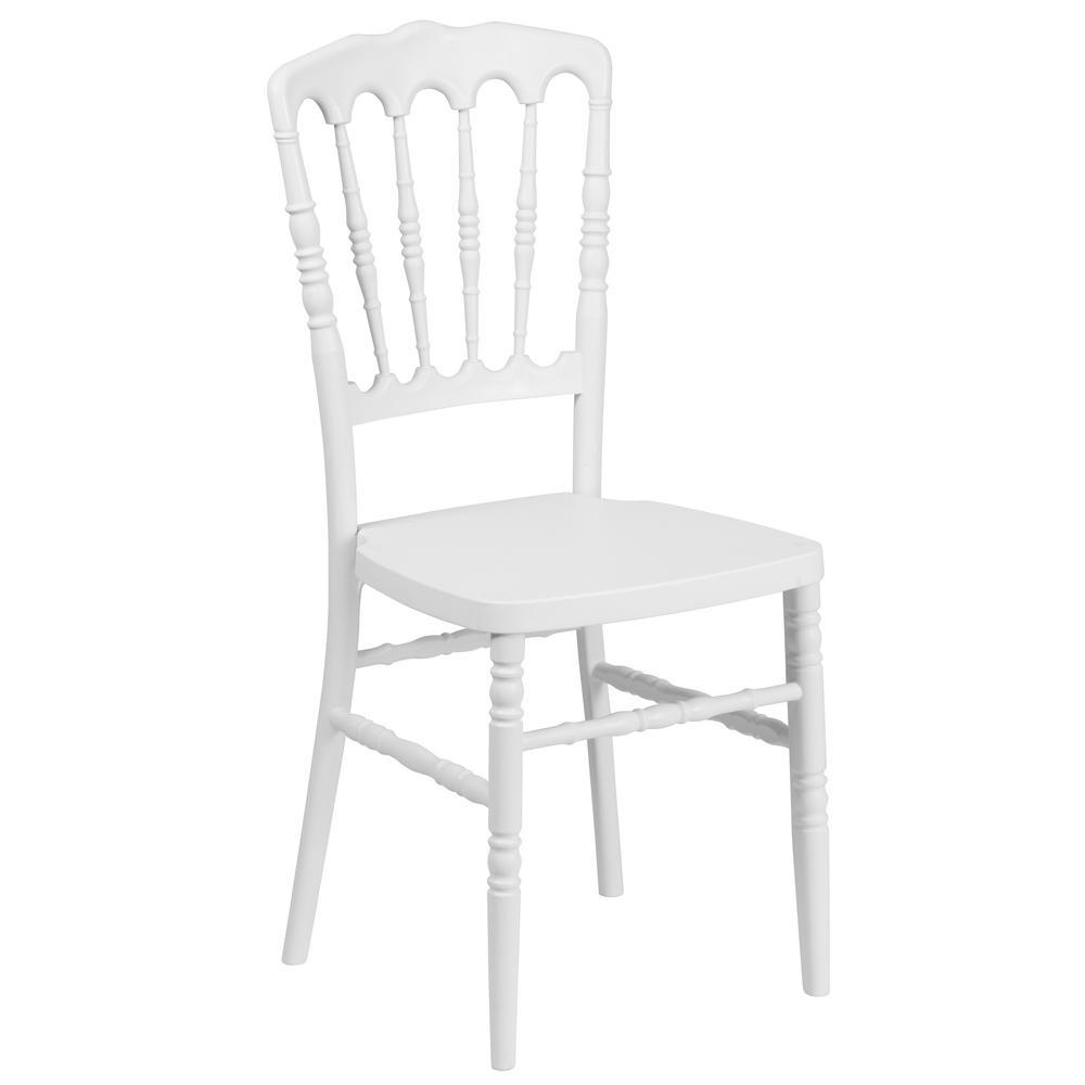 HERCULES Series White Resin Stacking Napoleon Chair