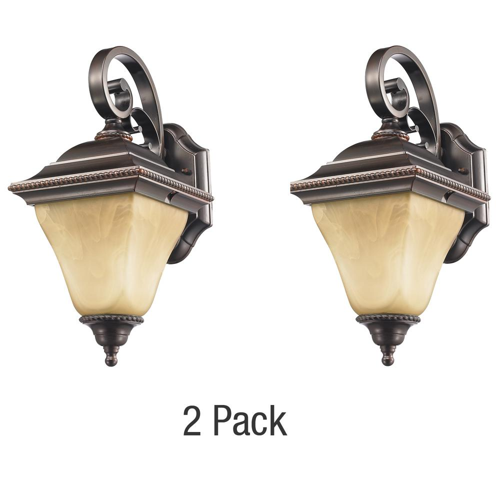 Jameson Collection 1 Light Bronze Outdoor Wall Lantern 2 Pack