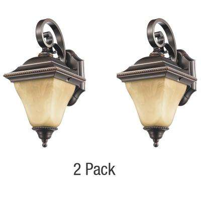 Jameson Collection 1-Light Bronze Outdoor Wall Lantern 2-Pack