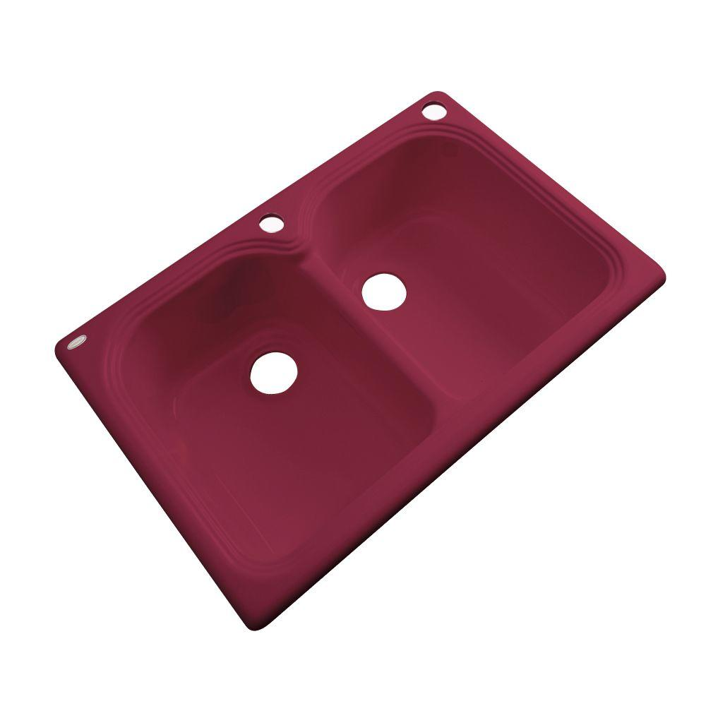 Thermocast Hartford Drop-In Acrylic 33 in. 2-Hole Double Basin Kitchen Sink in Ruby