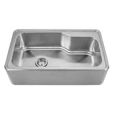 Noah's Collection Front Apron Brushed Stainless Steel 33-1/2 in. 0-Hole Single Bowl Kitchen Sink
