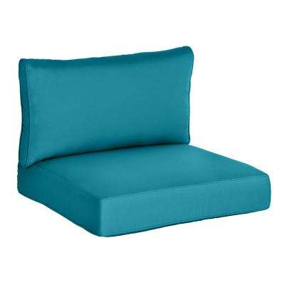 Commercial Grade Armless Middle Outdoor Sectional Chair Cushion in Sunbrella Canvas Teal