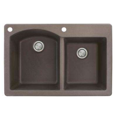 Aversa Drop-in Granite 33 in. 2-Hole 1-3/4 D-Shape Double Bowl Kitchen Sink in Espresso