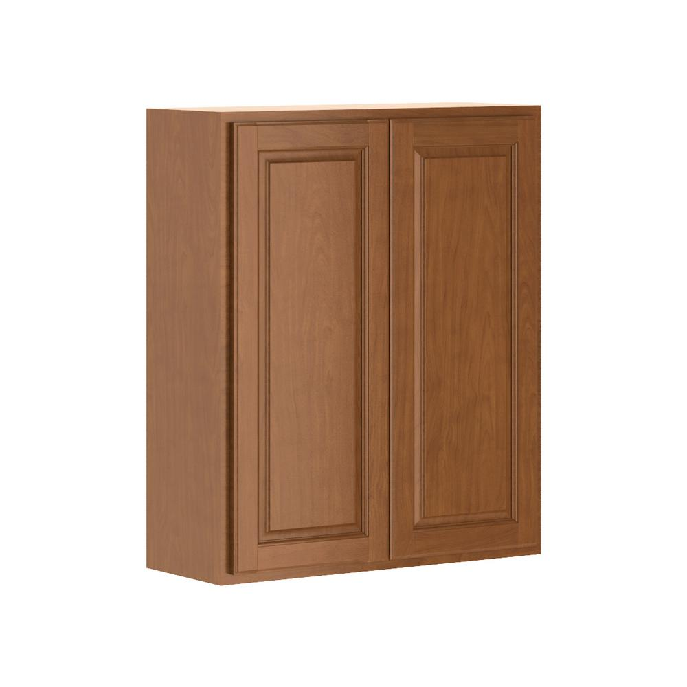 Hampton Bay Madison Assembled 30x36x12 In Wall Cabinet In Cognac W3036 Mcog The Home Depot