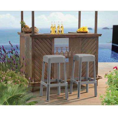 Polypropylene Taupe Patio Bar Stool (2-Pack)