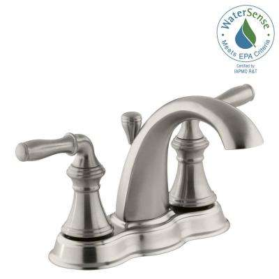 Devonshire 4 in. Centerset 2-Handle Mid-Arc Water-Saving Bathroom Faucet in Vibrant Brushed Nickel