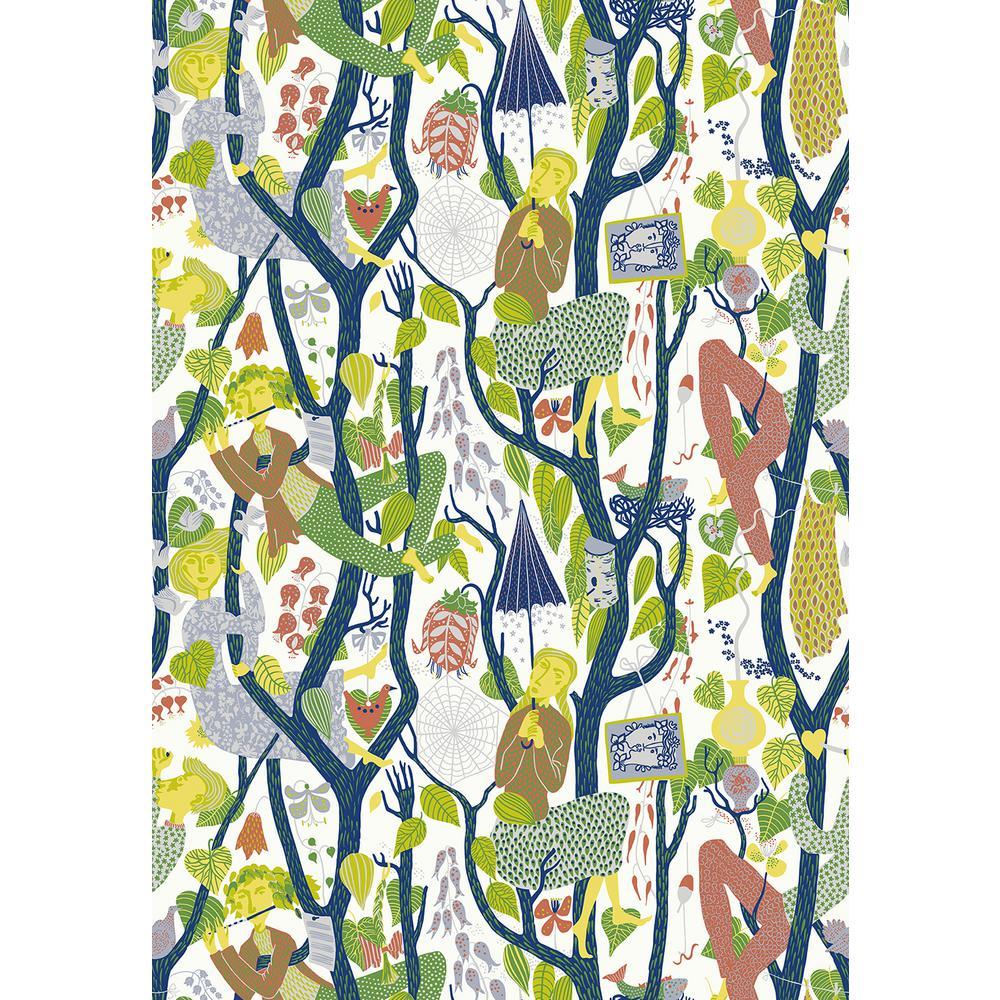 8 in. x 10 in. Melodi Light Grey Folk Wallpaper Sample
