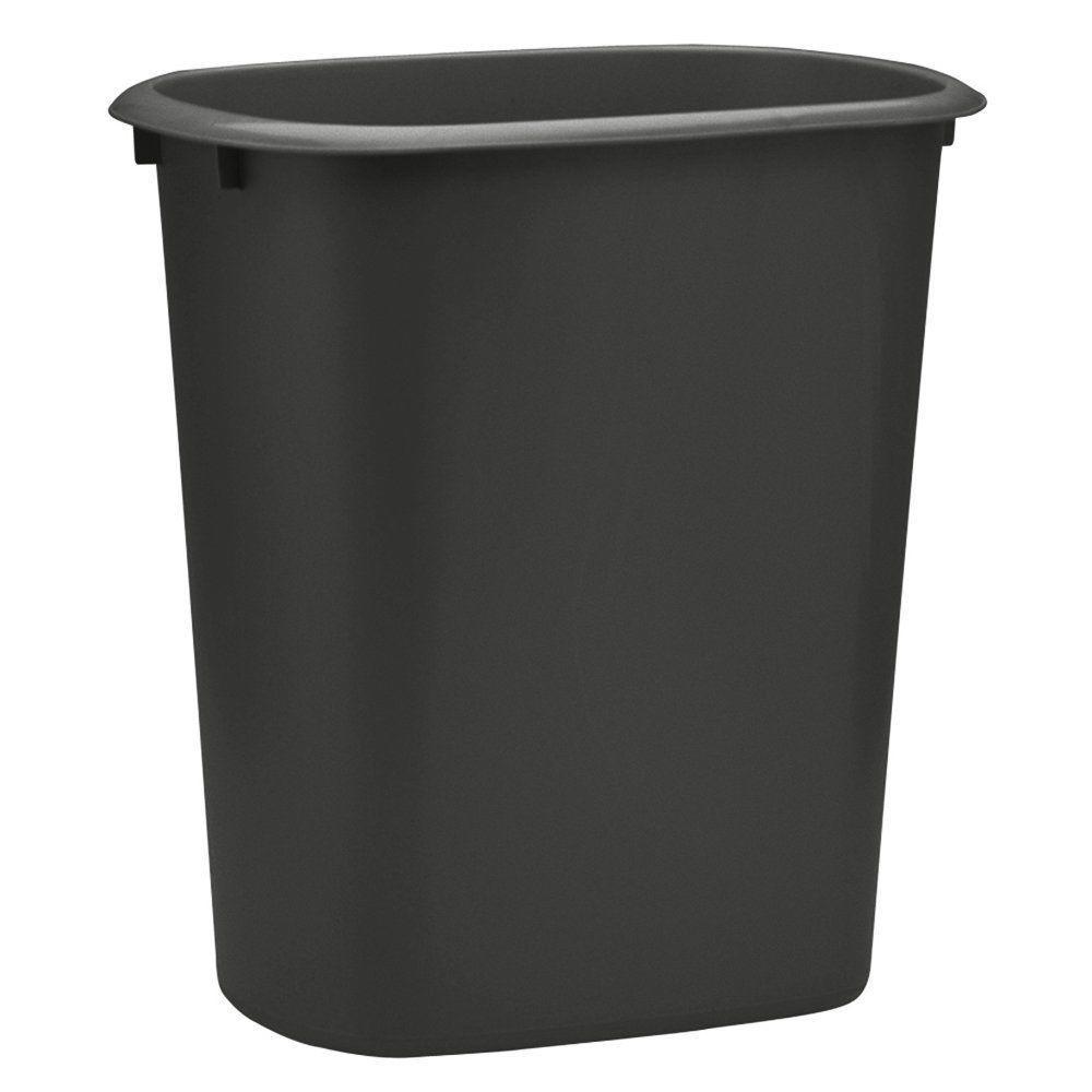 10 Qt. Plastic Black Designer Waste Basket