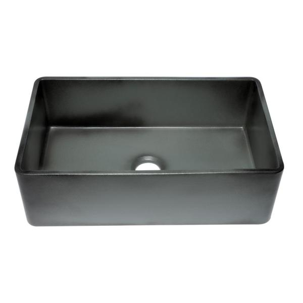 Farmhouse Fireclay 33 in. Single Bowl Kitchen Sink in Concrete