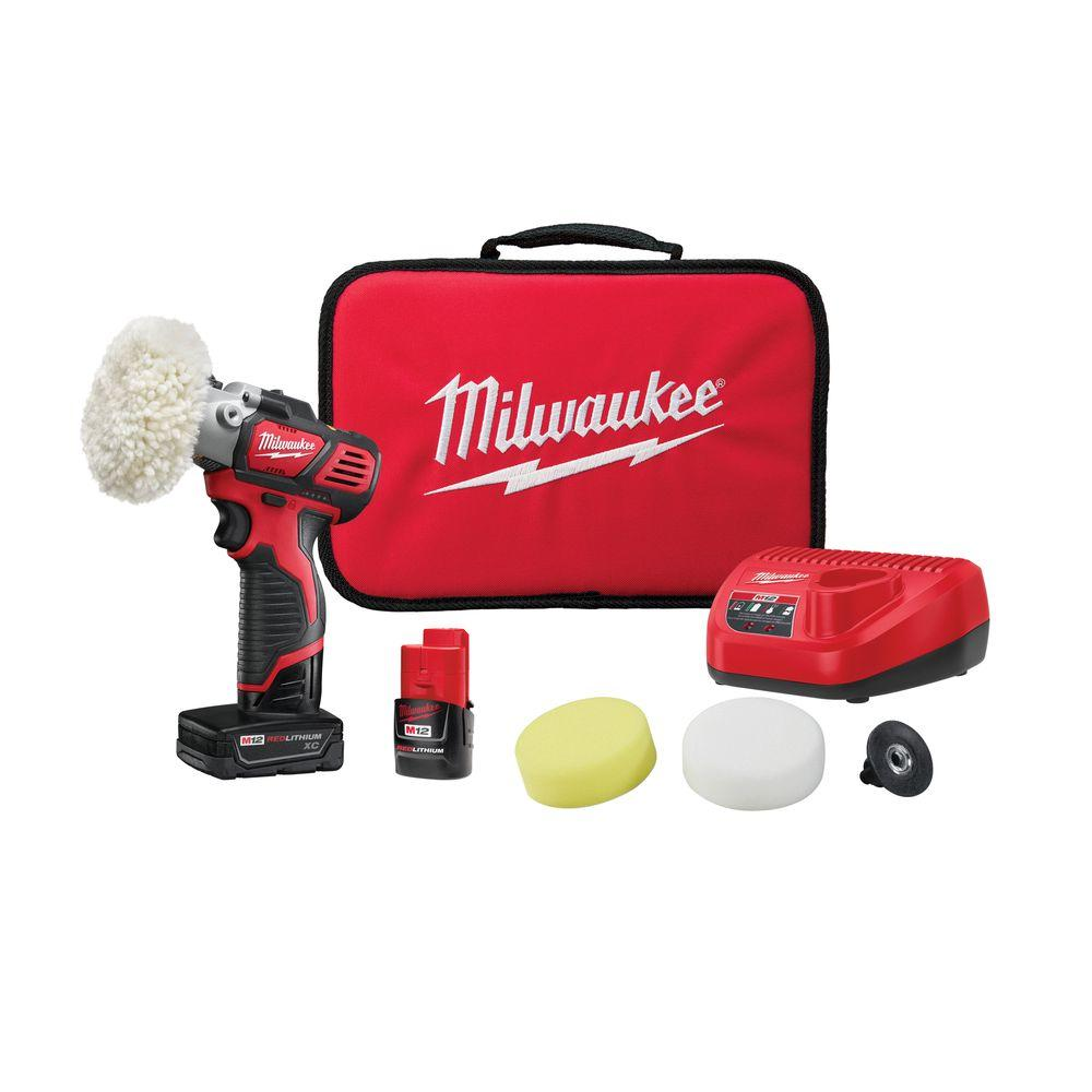 Milwaukee M12 12-Volt Lithium-Ion Cordless Variable Speed Polisher/Sander Kit W/(2) M12 Batteries, Accessories, Charger & Tool Bag
