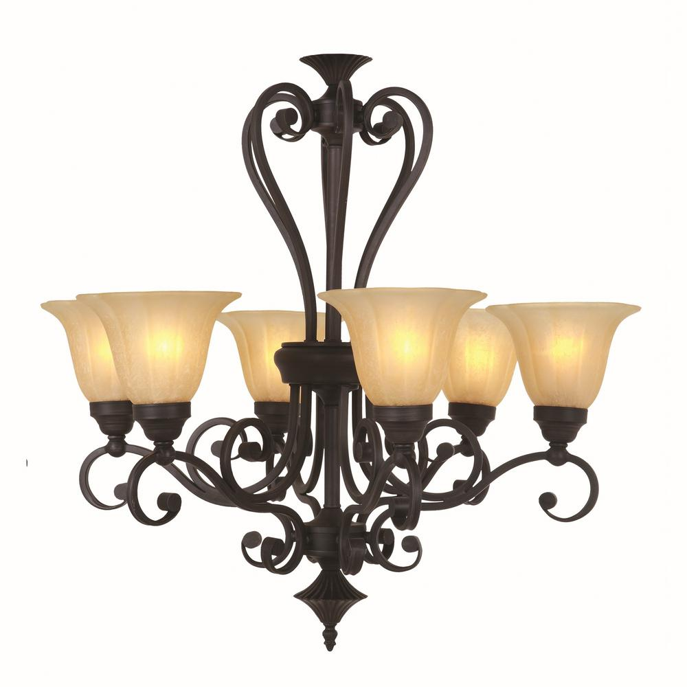Y Decor Lucerne 6-Light Venetian Bronze Chandelier With