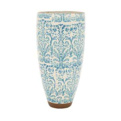 Decorative Blue Floral Ceramic Vase