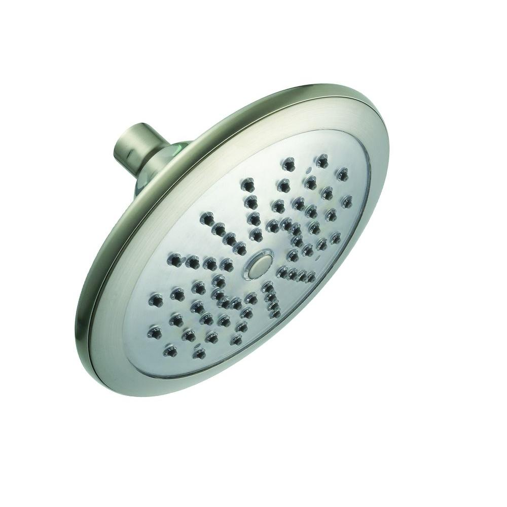 Glacier Bay Water Powered LED Lighted 1-Spray 7 in. Fixed Shower Head in Brushed Nickel