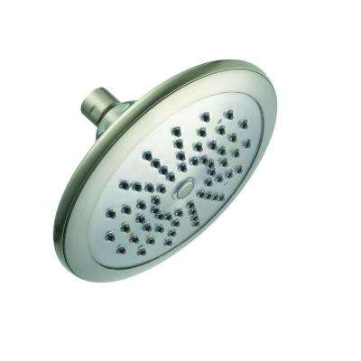 Water Powered LED Lighted 1-Spray 7 in. Fixed Shower Head in Brushed Nickel