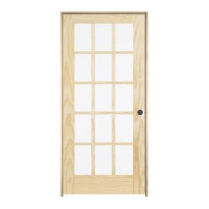 Jeld Wen 30 In X 80 In Pine Unfinished Left Hand 15 Lite Wood Pine  Unfinished