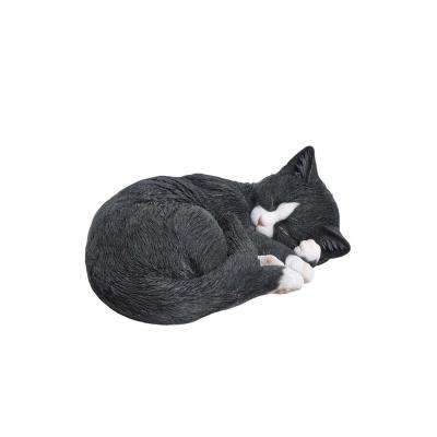 Black/White Cat Sleeping Lying Down Statue