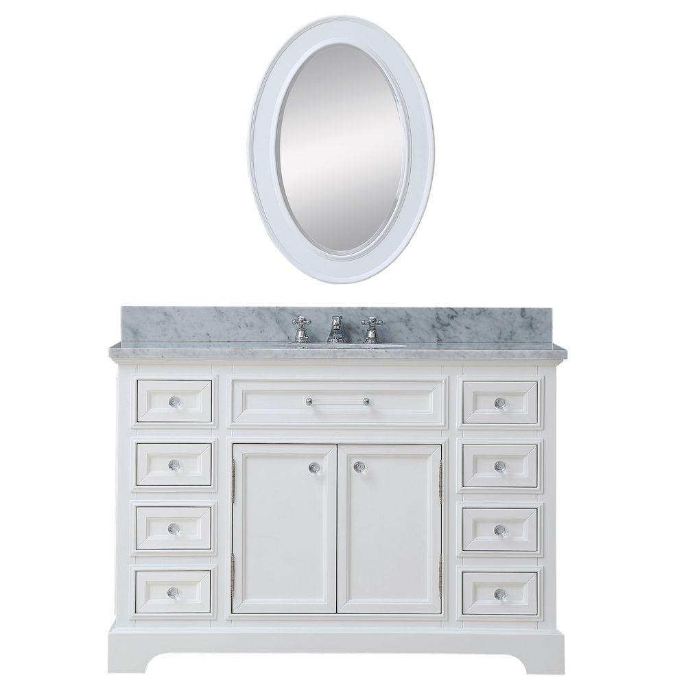 Water Creation 48 in. W x 22 in. D Vanity in White with Marble Vanity Top in Carrara White, Mirror and Chrome Faucet