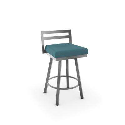 Glossy Grey Metal Aqua Blue Fabric Counter Stool
