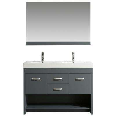 Citrus 48 in. W x 18 in. D Bath Vanity in Gray with Acrylic Vanity Top in White with White Basin and mirror