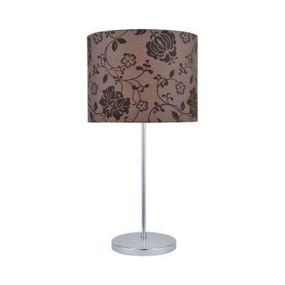 Designer Collection 23 in. Chrome Table Lamp with Brown Printed Fabric Shade