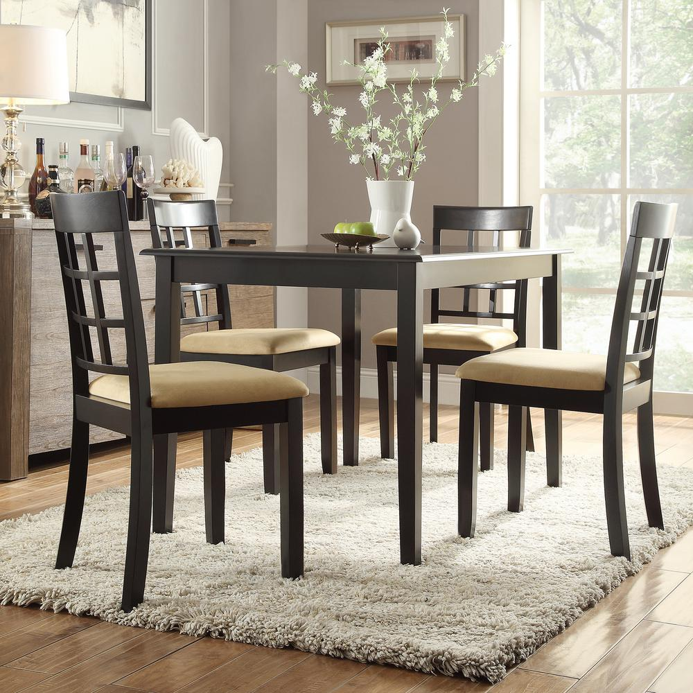 Homesullivan 5 piece black dining set 40122d100w5pc122c for Home depot dining room sets